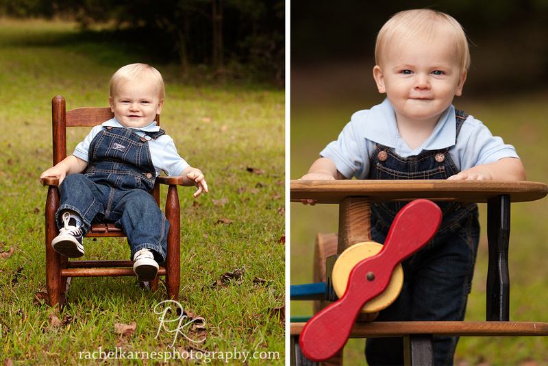 Adorable boy in overalls in rocking chair and vintage airplane
