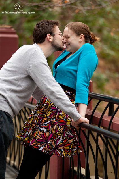 couple kissing on william and mary crim dell bridge