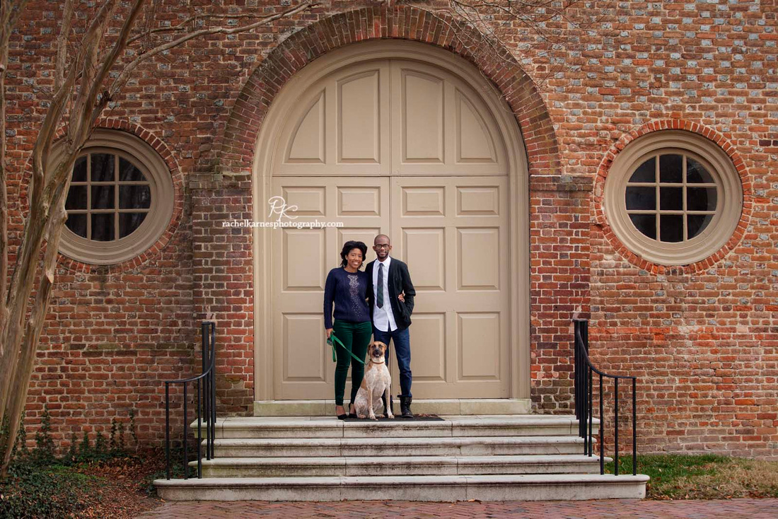 Couple Anniversry photo at Wren building in Williamsburg