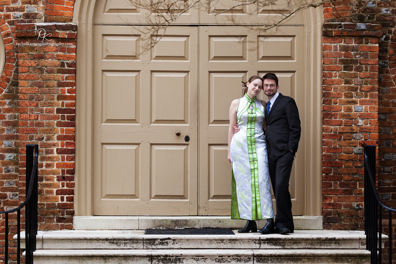 Student in qipao at william and mary wren building