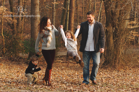 Virginia fall family photo swinging children