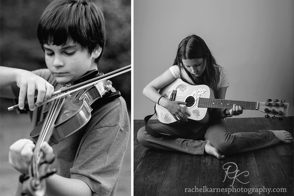 Tweens playing musical instruments outdoors and in studio