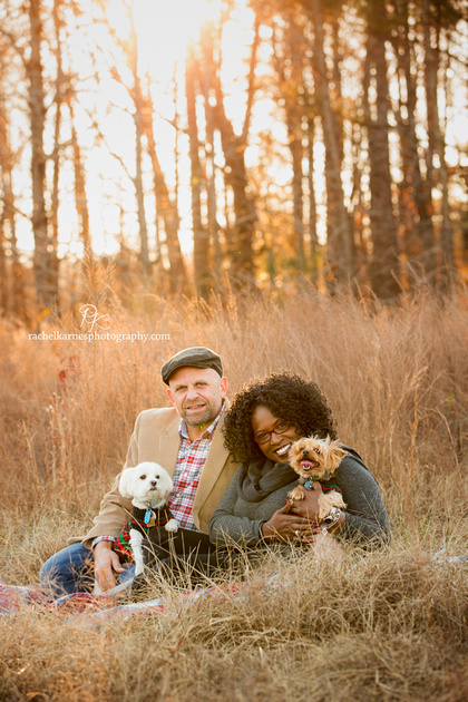 Williamsburg couple in field with dogs