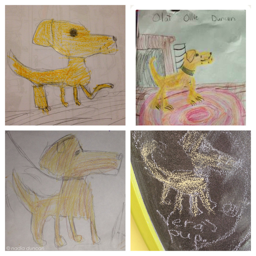 Little girl's drawings of her golden puppy