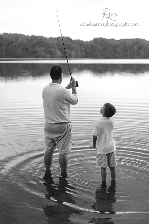 Father and Son fishing on Burke Lake VA