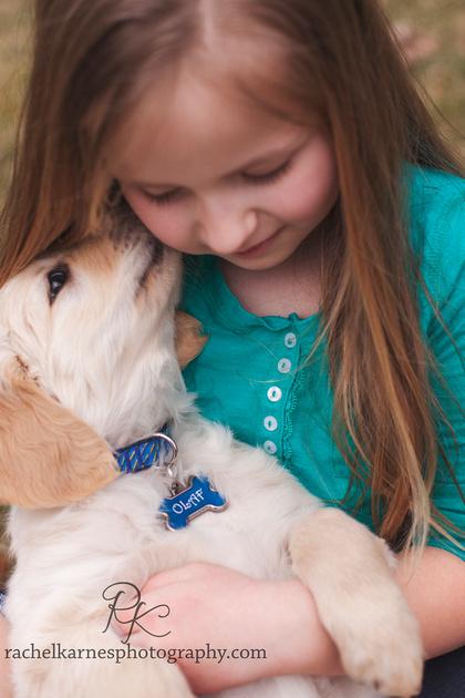 Little girl snuggling her golden retriever puppy