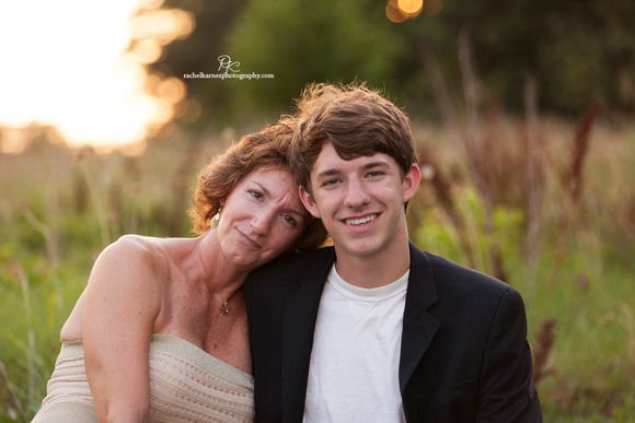 Williamsburg mother and son sunset field photo