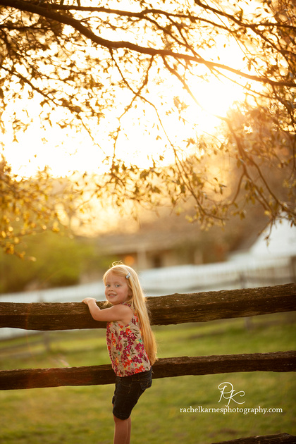 little girl on rustic fence with sunset