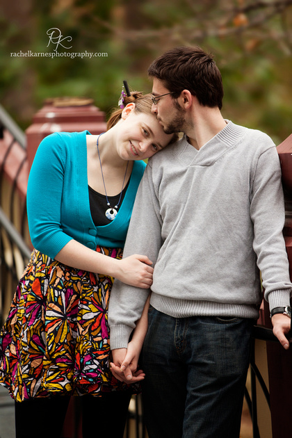 William and Mary student couple portrait on the crim dell bridge