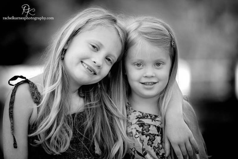 sibling girls during spring photo session in C